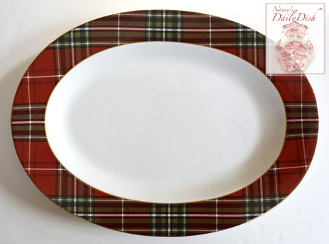 Tartan Plaid Red Black & Green Oval Serving Platter Tray NEW 222 Fifth Wexford