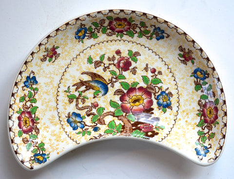 RARE Yellow and Brown Polychrome Two Color Transferware Antique English Crescent Plate Birds and Flowers George Jones Crescent Pottery