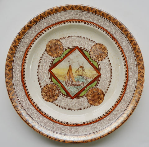 Stunning Circa 1871 Antique Aesthetic Transferware Brown Polychrome Plate Geometric Medallions Sailboat Windmill
