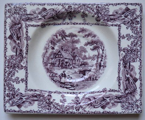 Square Purple Transferware Platter Biarritz Tray Rural Scenes Mother Daughter Cows Bee Skep