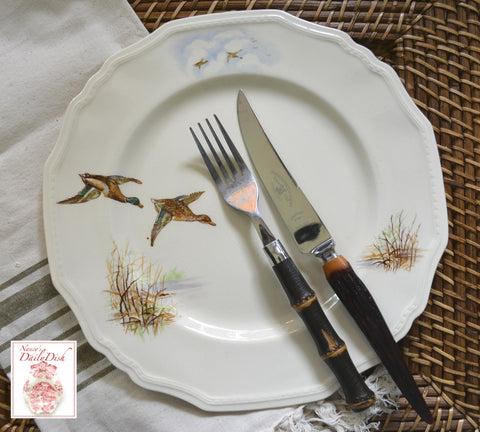 Vintage Hunting Wildfowl Plate Brown Hand Painted English Transferware