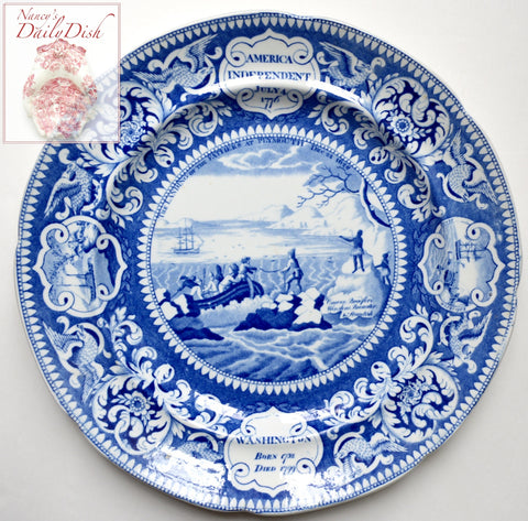 #2 c1825 Historical Staffordshire Enoch Wood & Sons Blue Transferware Plate American Independence, Pilgrims, Washington, Boxer v Enterprise