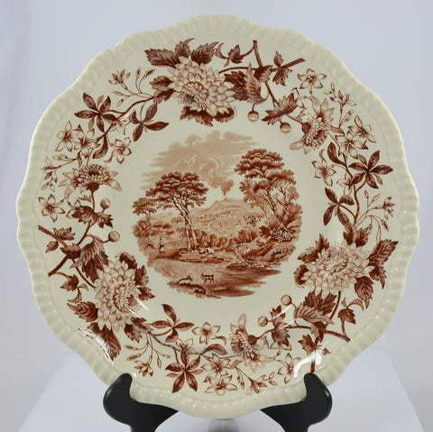Vintage Spode Aster Brown Transferware Charger Plate Copeland Beverley Italian Scene Mt Vesuvius Billygoats
