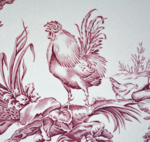Vintage Country French Wedgwood Rooster Hen Purple Transferware Plate Dinner Plate