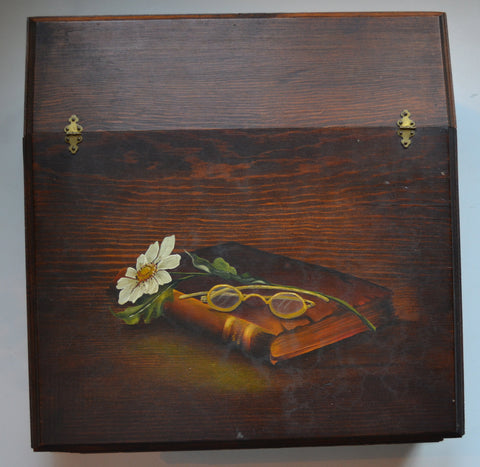 Vintage Hand Painted Distressed Wood Lap Top Writing Desk / Storage or Letter Box Hindged Lid