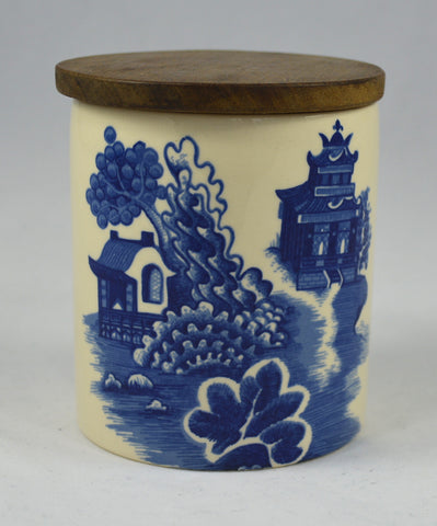 Blue Willow English Ironstone CanisterJar Blue Transferware Candy Jar / Tea Caddy Ginger Jar