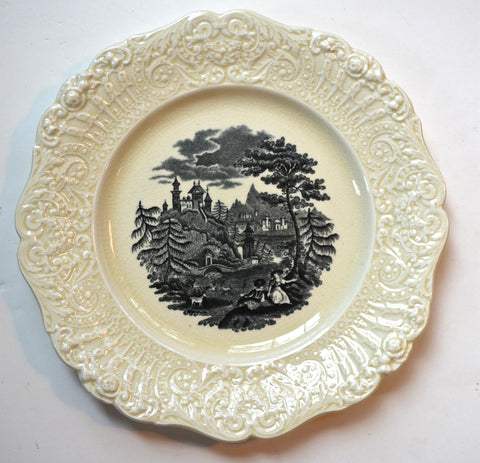 Black & Cream Toile English Transferware Plate Romantic Picnic Scene Embossed Lace Border Ridgway Tyrolean