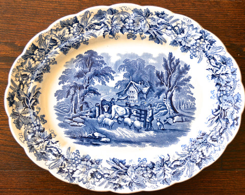 Large Vintage Blue Transferware Platter - Grapes Vines Grazing Cows Cattle Sheep & Dog - Farm Scene Cottage - British Scenery