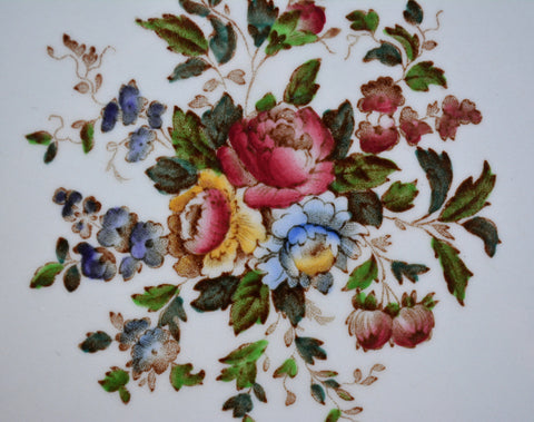 Vintage Wedgwood Hand Painted Cabbage Roses Brown Transferware Salad Plate Relief Border