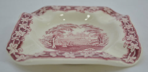 Red Transferware Masons Vista Square Ashtray Coaster or Spoon Rest
