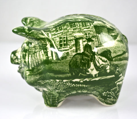 Vintage Figural Green Toile Transferware Pig Piggy Bank English Village by James Kent Hard to Find