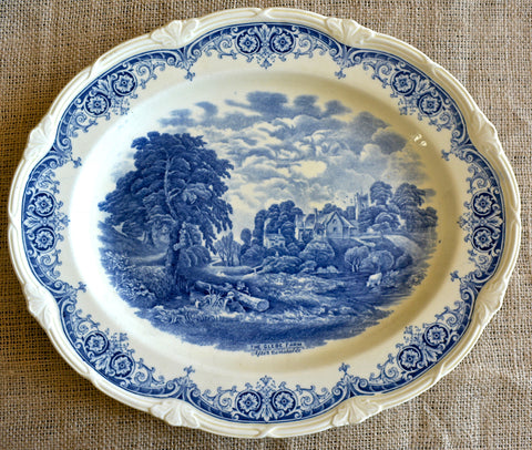 Blue Transferware Scenes After Constable English Creamware Platter Constable The Glebe Farm Pastoral Scene with Cows Stream