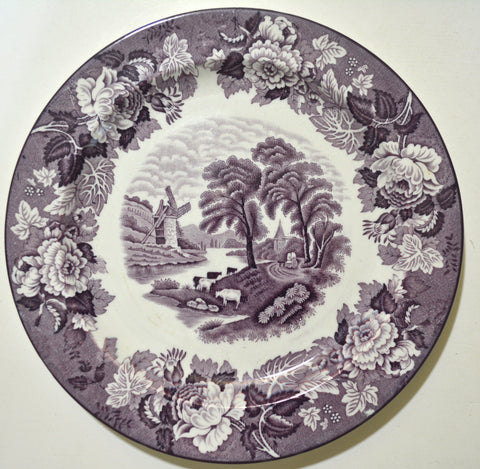 Grazing Cattle / Cows Purple Aubergine Transferware Plate w/ Peonies Roses Border