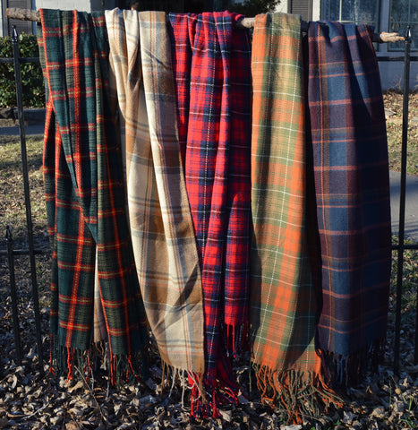 Cashmere Tartan Plaid Fringed Scarf / Shawl or Table Runner - Extra Long and Wide