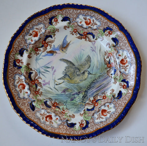 Antique Spode Copeland Woodcock in Flight Game Bird Plate Elaborate Transferware Hand Painted
