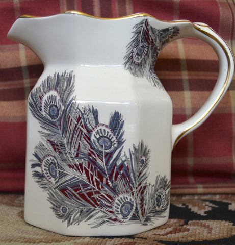 Gray / Black English Transferware Hydra Jug Pitcher w/ Figural Serpent Handle Masons Peacock Feathers