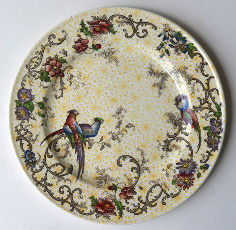 Antique Yellow Transferware Polychrome Two Color Plate Birds and Flowers