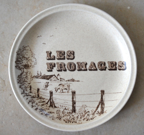 Vintage Gien French Farmhouse Kitchen Advertising Brown Print Les Fromages Plate with Bovines / Grazing Cows