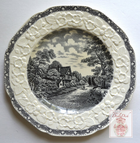 Antique Black English Transferware Octagon Plate Embossed Floral Border English Cottage / Cropthorne Rural England