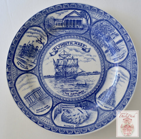 Blue and white Historical Staffordshire Colonial Times Transferware Plate Plymouth The Mayflower Pilgrims