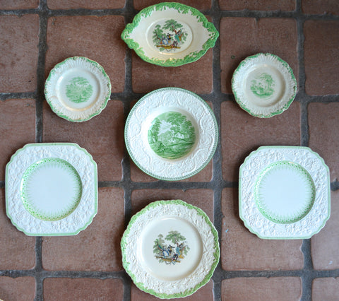 Set of 7 Mix n Match Antique Apple Green Transferware Plates Instant Wall Display or Collection - Unique Art