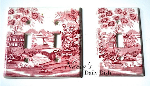RARE Red Transferware Single Light Switch Plate Cover Tonquin English Staffordshire