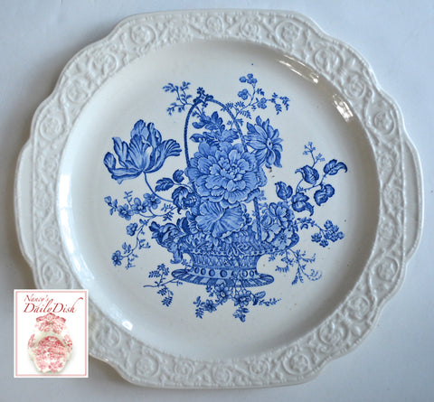 Square Embossed Vintage Blue Toile Transferware Charlotte Tab Handled Tray / Platter Basket of Roses
