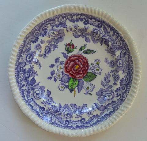 Spode Mayflower Periwinkle Lavender Transferware Plate Painted Pink Roses