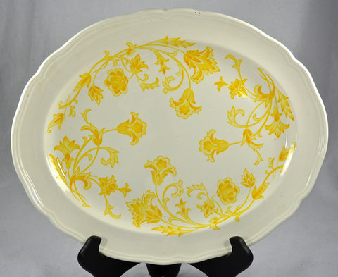 Vintage English Ironstone Platter Yellow Scrolls and Vines Stylized Flowers