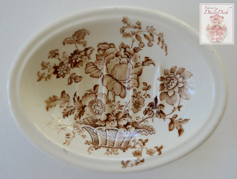 Brown Ironstone English Transferware Soap Dish Charlotte Roses Flowers