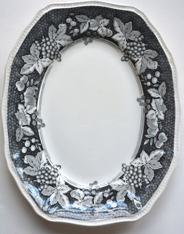 Black & White English Ironstone Transferware Platter Grapes Rasberries Leaves Cherries Vines England