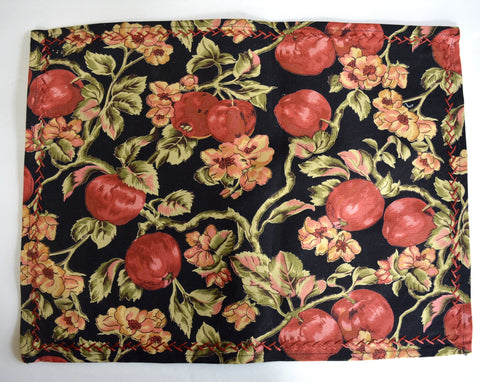 Set 8 New April Cornell Placemats Black Red Autumn Apples Blossoms Vines