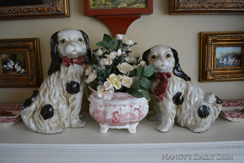 Pair of Large Black & White English Staffordshire Spaniel Dog Figurines  - English Country Decor