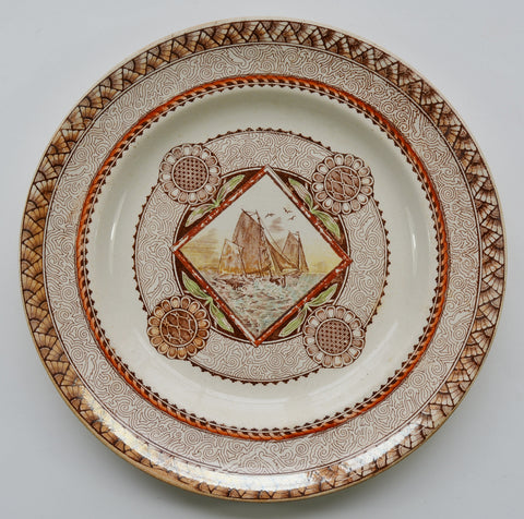 Stunning Circa 1871 Antique Aesthetic Transferware Brown Polychrome Plate Geometric Medallions Sailboats