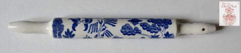 Vintage Blue Willow Chinoiserie Pastry Rolling Pin 1 piece Rare