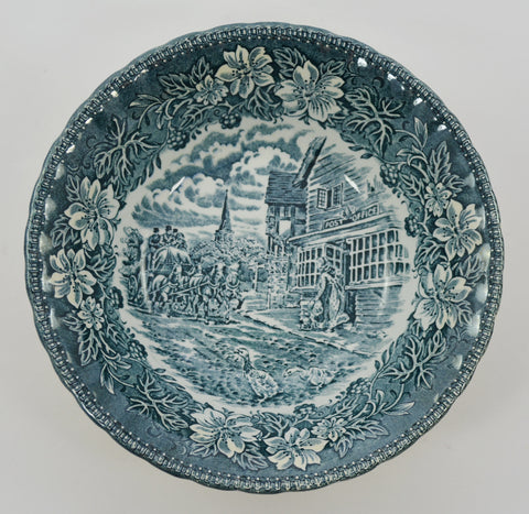 Royal Tudorware Coaching Taverns Teal and White Toile Transferware Cereal Bowl