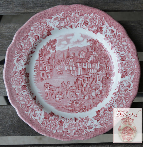 Red Transferware Plate Travelers Horses Children Roses Vintage English Transferware