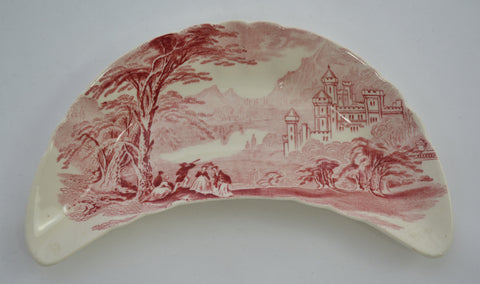 Royal Staffordshire Jenny Lind Red Transferware Crescent Bone Plate Castles Mountain