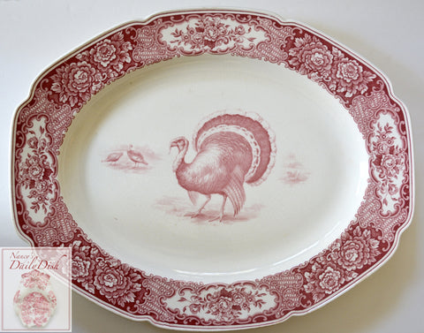 Huge Red Transferware Christmas or Thanksgiving Turkey Platter Crown Ducal Colonial Times