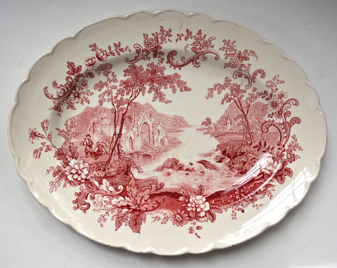 Peaceful Summer Clarice Cliff Red English Transferware Serving Platter Cascading Waterfall - Decorative Dishes