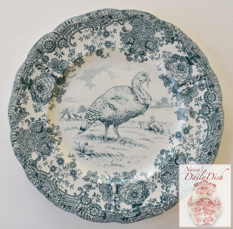 Antique Turkey Plate Teal Transferware Staffordshire China Thanksgiving Dinner Plate Tom Turkey  Ridgway  Staffordshire Beehive Stamp