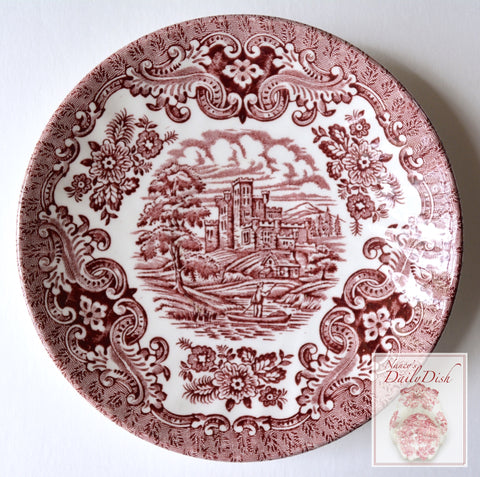 Red Transferware Plate English Row Boat on the River with Roses & Scrolls