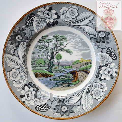 Vintage Black English Transferware Plate Woods Woodland Pastoral Winding River Scene