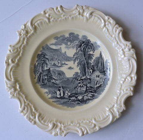 Vintage Royal Doulton Black Transferware Creamware Scenic French Cottage Plate Cutaway Embossed Border