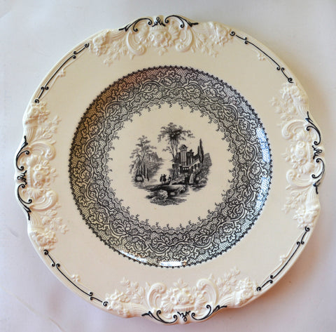 Black & Cream Staffordshire Transferware Charger Toile Plate Marlborough Embossed Scroll Border
