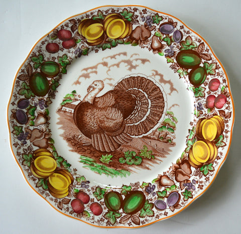 Antique / Vintage English Staffordshire China Turkey Charger Plate Barker Brothers Thanksgiving Dinner Turkey Platter Brown Transferware