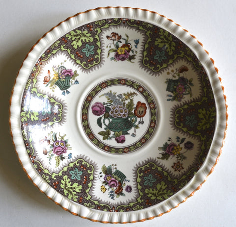 Vintage Spode Brown Thanksgiving Plate Transferware Hand Painted English Country Flowers
