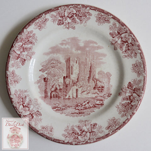 Antique Red Transferware Plate Copeland Spode Abbey Ruins Salad Plate Oak Leaves Acorns