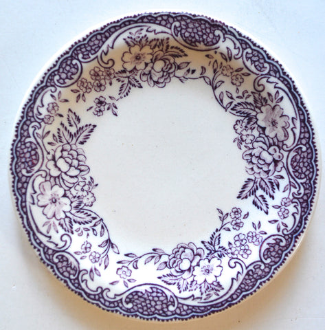 Rare! Lavender Purple Transferware Butter Pat or Pin Dish / Miniature Childs Tea Plate