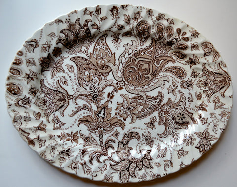 Brown English Transferware Scottish Paisley Floral Toile Oval Platter